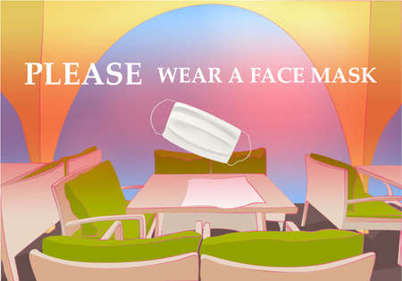 Please wear a face mask banner with tables and chairs under the open sky, text, white medical face mask. Coronavirus banner. COVID-19 Archivio Fotografico