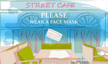 Please wear a face mask banner with street cafe front view, tables and chairs under the open sky, text, white medical face mask. Coronavirus banner. COVID-19 Archivio Fotografico