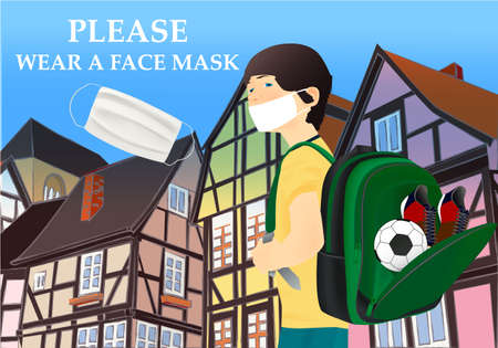 Please wear a face mask banner with buildings, text, schoolboy, white medical face mask. Coronavirus banner. COVID-19