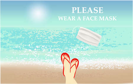 Please wear a face mask banner with beach view, woman legs, white medical face mask. Coronavirus banner Vettoriali