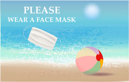 Please wear a face mask banner with beach view, white medical face mask. Coronavirus banner