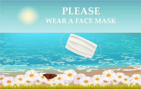 Please wear a face mask banner with beach view, text, white medical face mask. Coronavirus banner