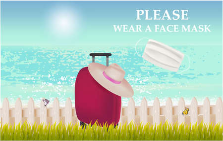 Please wear a face mask banner with beach view, suitcase, hat, grass, text, white medical face mask. Coronavirus banner