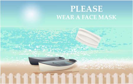 Please wear a face mask banner with beach view, fence, text, white medical face mask. Coronavirus banner Archivio Fotografico