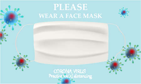 Please wear a face mask banner with white medical face mask. Coronavirus banner