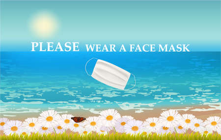 Please wear a face mask banner with beach view, flowers, text, white medical face mask. Coronavirus banner