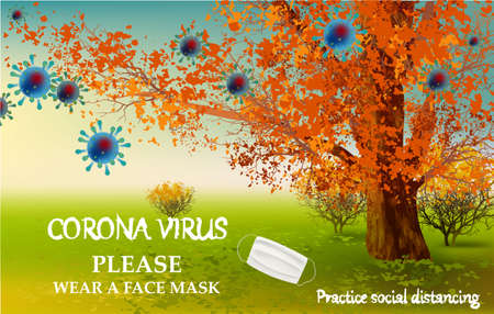 Please wear a face mask banner with landscape, big tree, white medical face mask. Coronavirus banner Archivio Fotografico
