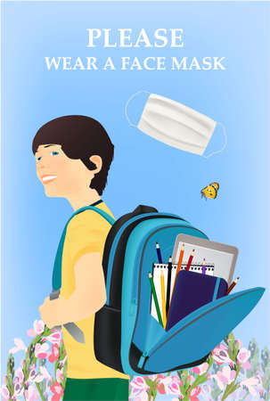 Please wear a face mask banner with schoolboy, white medical face mask. Coronavirus banner. Nature, butterfly, flowers Archivio Fotografico