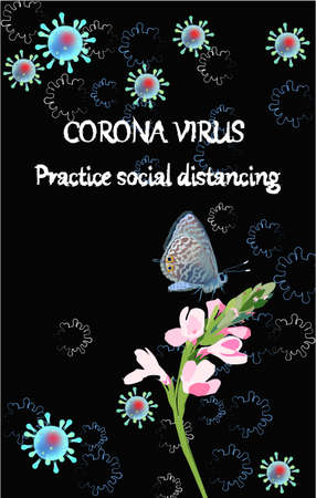 Corona Virus banner with butterfly, flower. Abstract background with Coronavirus bacteria