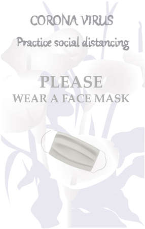 Please wear a face mask banner with flower. Coronavirus banner.