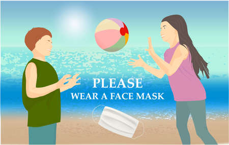 Please wear a face mask banner with beach view, children playing ball, white medical face mask. Coronavirus banner