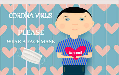 Please wear a face mask banner with cute boy, white medical face mask. Coronavirus banner. Abstract background with hearts Archivio Fotografico