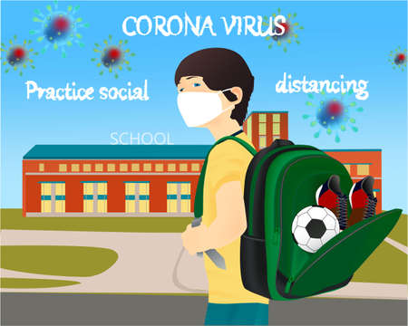 Please wear a face mask banner with schoolboy, white medical face mask. Coronavirus banner. Back to school