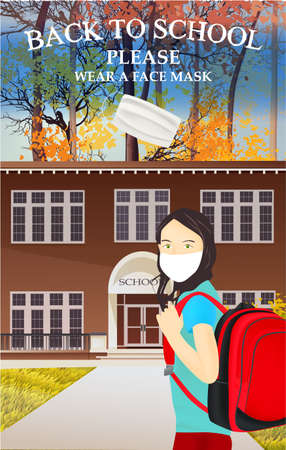 Please wear a face mask banner with school building, schoolgirl, white medical face mask. Coronavirus banner. Back to school
