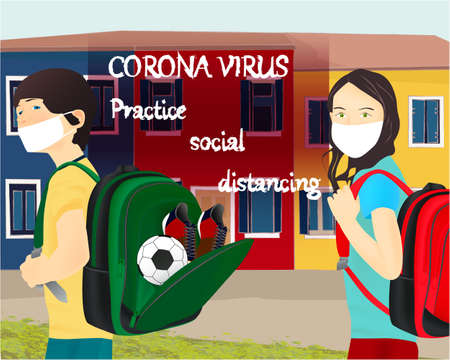 Please wear a face mask banner with schoolgirl and schoolboy, white medical face mask. Coronavirus banner. Back to school Archivio Fotografico