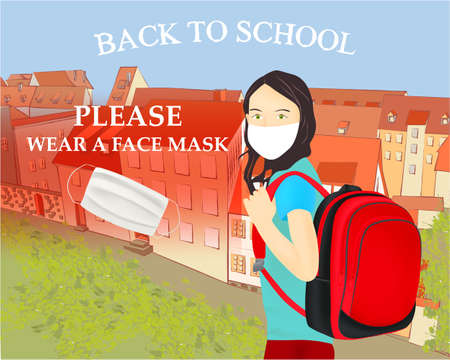 Please wear a face mask banner with schoolgirl, white medical face mask. Coronavirus banner. Back to school