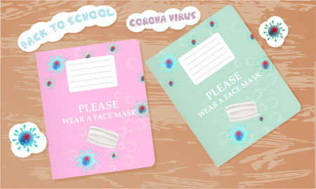 Back to school illustration with school notebooks, text, stickers. Top view Archivio Fotografico