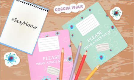 Stay Home illustration with school notebooks, cup of coffee, pencils. Coronavirus banner. Top view