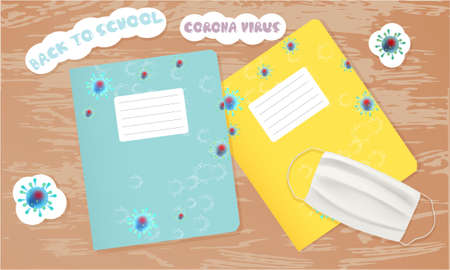 Back to school illustration with school notebooks with school girl and schoolboy, white medical face mask. Coronavirus banner. Top view Archivio Fotografico