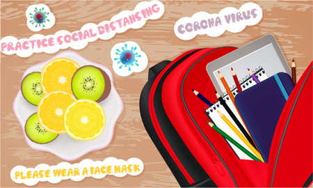Illustration with school notebooks, pencils, school bag, stickers. Coronavirus banner Top view