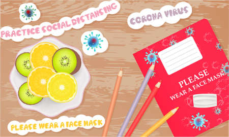 Illustration with school notebooks, pencils, stickers and fruits. Coronavirus banner