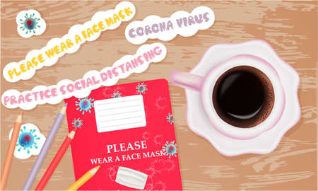Illustration with school notebook, pencils, cup of coffee. Coronavirus banner. Top view