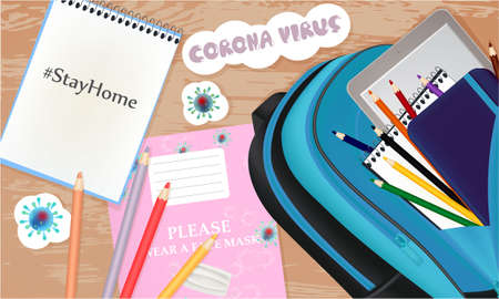 Stay Home illustration with school notebook, pencils, school bag, stickers. Coronavirus banner
