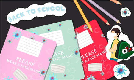 Back to school illustration with school notebooks, pencils, stickers. Coronavirus banner