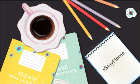 Stay Home illustration with school notebooks, pencils, stickers. Coronavirus banner