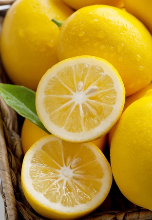 lemon tree: Meyer Lemons, a cross between Mandarin orange and a regular lemon, closeup Stock Photo