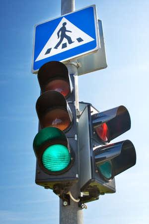 señal de transito: Semáforo Foto de archivo