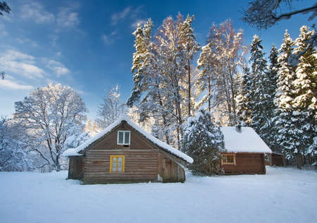 log cabin in snow: Old houses in snowy forest