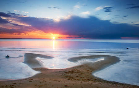baltic sea: Romantic sunset at the beach