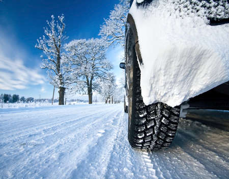 winter season: Car on the countryside road