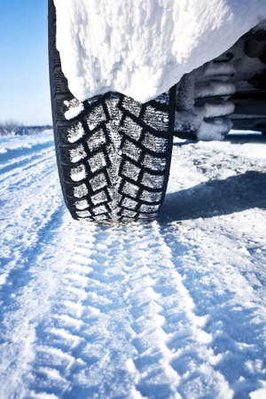 winter tires: Closeup of car tires in winter