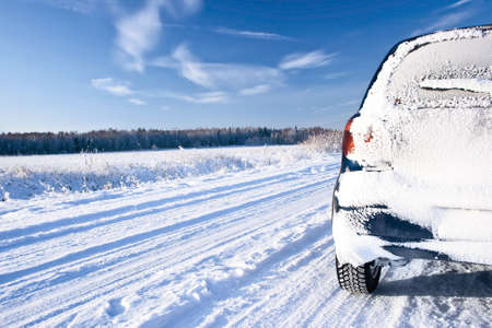 icy conditions: Road in the winter Stock Photo