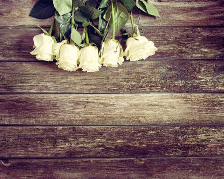 lowers: Roses on wooden background
