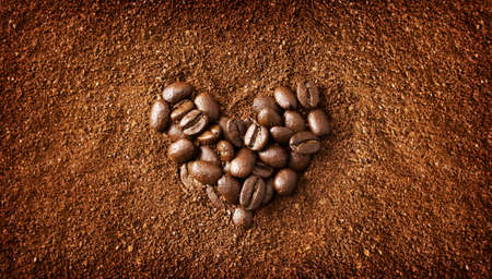 instant coffee: Heart shaped coffee beans Stock Photo