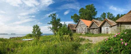hobby hut: panoramic view to Altja fishing village Stock Photo