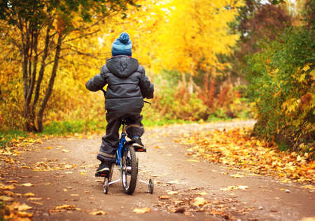 少年は、秋の日に自転車に乗っています。