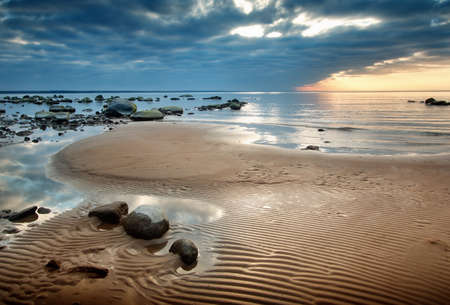 baltic sea: view to baltic seacoast at sunset ligt Stock Photo