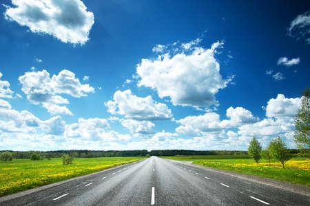 Synny 日にアスファルトの道路とタンポポのフィールド