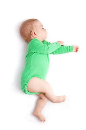 아기 소년 자고에 격리 된 흰색 배경