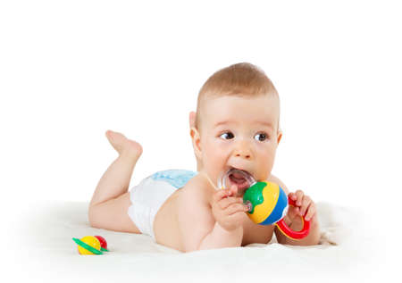 mouth pain: Baby holding a toy isolated on white background