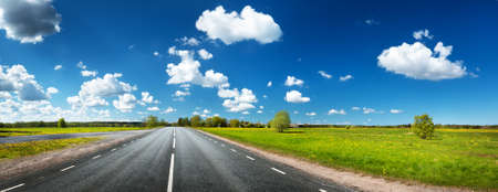 estonia: Asphalt road on the dandelion field with beautiful clouds in the sky Stock Photo