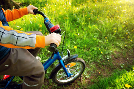 flowers boy: child on bike in the park with dandelions in pleasant sunny spring day Stock Photo