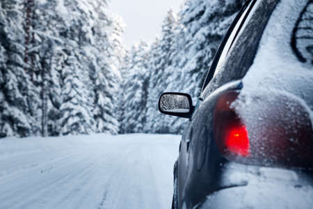 stoplights: car on winter road in the morning Stock Photo