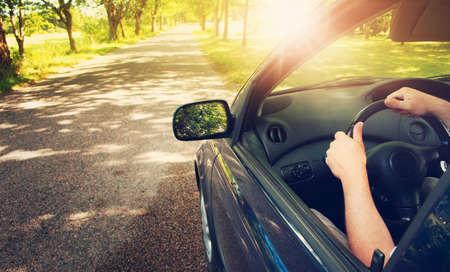 공원에서 여름 하루에 아스팔트 도로에 자동차 스톡 콘텐츠