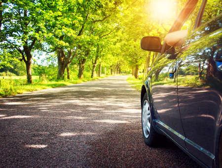 fin de semana: Coche en el camino de asfalto en día de verano en el parque Foto de archivo