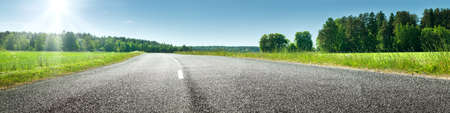 晴れた春の日に道路パノラマ 写真素材